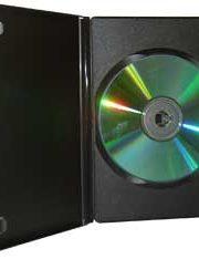CD/DVD Black Molded Plastic Box, holds 1 disc