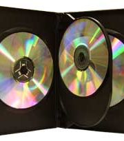 CD/DVD Black Molded Plastic Box, holds 3 discs