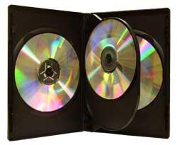 CD/DVD Black Molded Plastic Box, holds 3 discs
