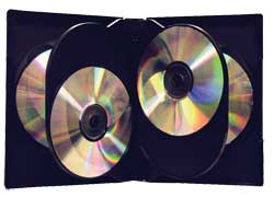 CD/DVD Black Molded Plastic Box, holds 6 discs